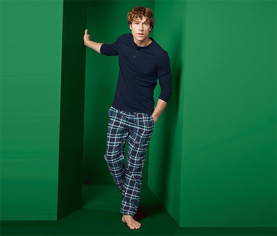 Męska dwuczęściowa piżama flanelowa z długim rękawem i spodniami