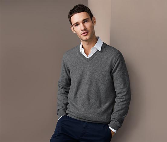 Kašmírový svetr s výstřihem do V