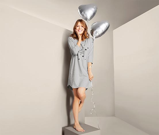 Koszula nocna oversize z nadrukiem, z bawełną ekologiczną