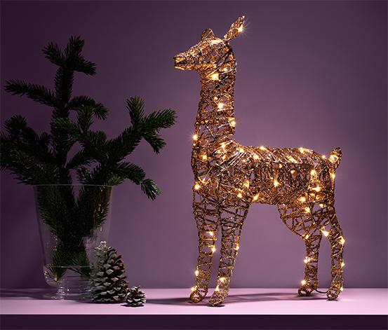 LED-es fém őz, arany, nagy