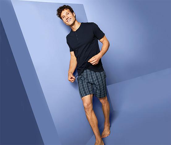Férfi rövidnadrágos pizsama, kék