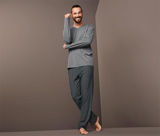 Férfi pizsama, szürke/mintás