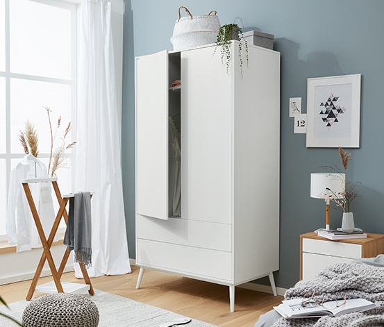 Dvoudveřová šatní skříň, šířka cca 100 cm, bílá