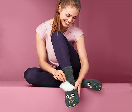 Puha női zokni melegítőpárnával, baglyos