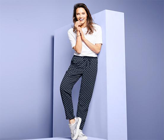 Tkané kalhoty s délkou po kotníky
