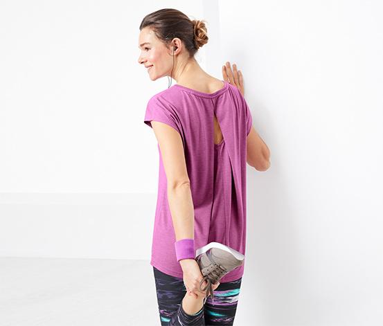 T-shirt de sport avec décolleté au dos aspect double épaisseur