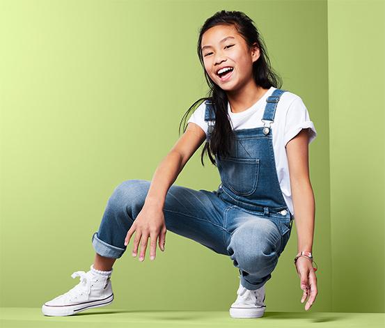 Jeans-hängselbyxor
