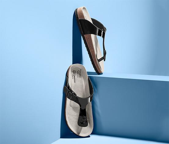 Damskie, lakierowane sandały-japonki na korkowej podeszwie