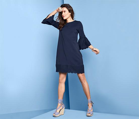 Šaty s volánom a ažúrovou výšivkou