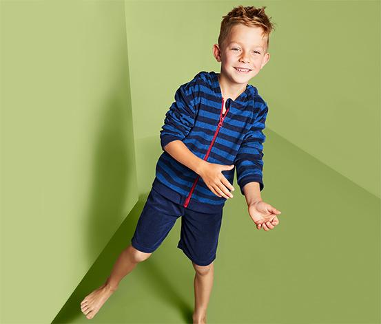 Chłopięcy komplet z bluzą i spodenkami z tkaniny frotté