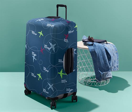 Pokrowiec ochronny na walizkę z nadrukiem w samoloty
