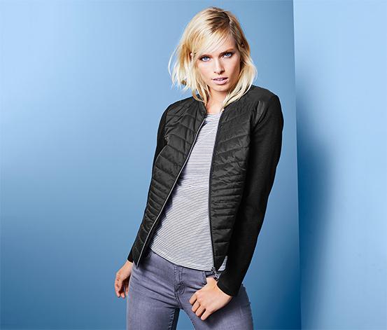 Damska pikowana kurtka z materiałowymi rękawami