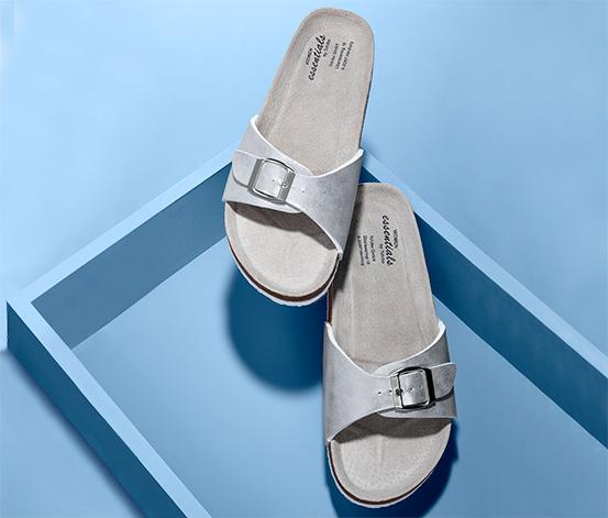 Metaliczne sandały damskie na korkowej podeszwie