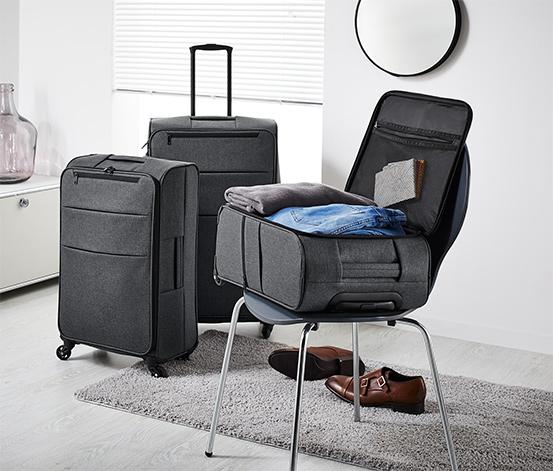 Könnyű textilbőrönd, sötétszürke, közepes
