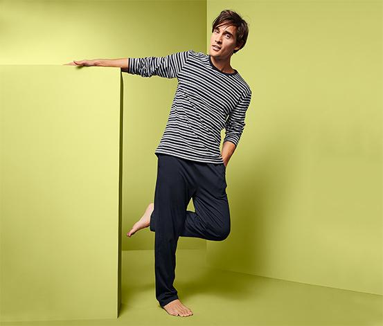 Piżama męska z czystej bawełny, z długim rękawem