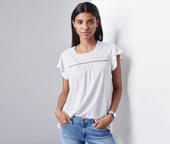 Beyaz Organik Pamuklu Işlemeli Jersey Tişört