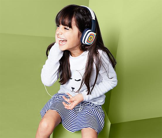 Kinder-Kopfhörer mit austauschbaren Malkarten