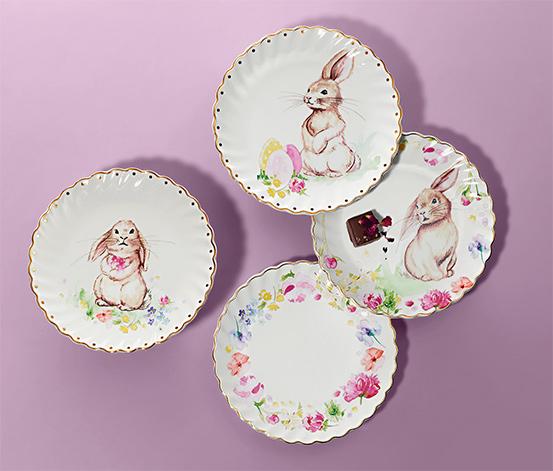 Dezertné taniere s lesklým zlatým dekorom, 4 ks
