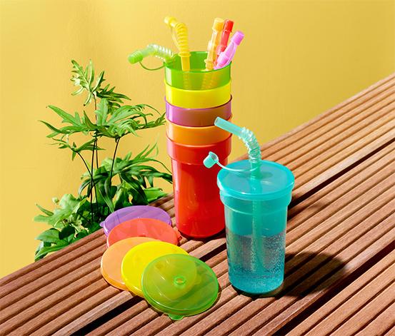 Kolorowe kubki piknikowe ze słomką i pokrywką, 6 sztuk