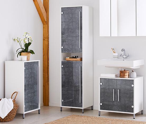 Płaska szafka łazienkowa z półką o regulowanej wysokości i szklanymi drzwiami