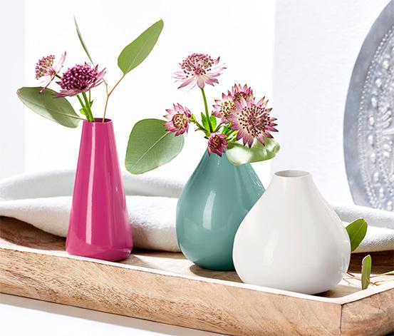 3 mini fém váza szettben, színes