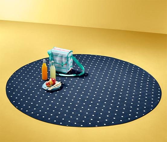 Okrągły koc piknikowy XL w białe kropki z nieprzemakalnym spodem