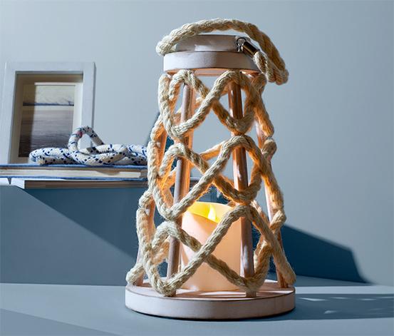 Drevený lampáš s LED