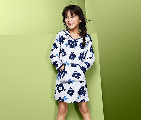 Dziewczęca sukienka z kapturem z tkaniny frotté