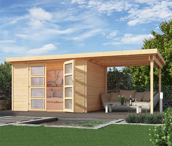 Weka Massivholz Gartenhaus Mit Flachdach Und Anbau Ca 452 X 237