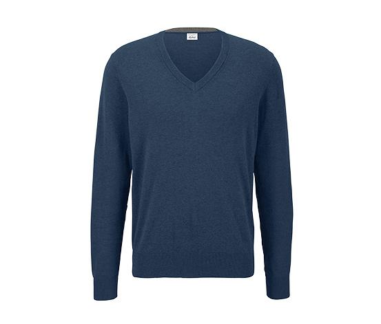 Férfi V-nyakú pulóver, kék