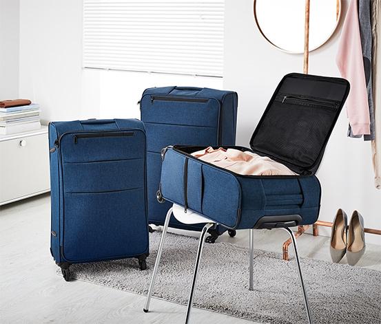 Könnyű textilbőrönd, sötétkék, nagy