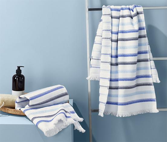 Ręczniki do sauny w paski z ozdobnymi frędzlami, 2 sztuki