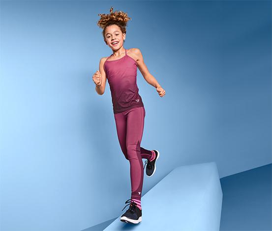 Dziewczęce legginsy sportowe z fioletową wstawką
