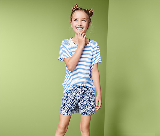 Lány rövidnadrágos pizsama, világoskék