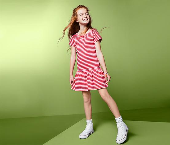 Lány jerseyruha, csíkos, piros