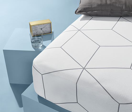 Prześcieradło z dżerseju z gumką, w romby, na materace od 90 x 190 do 100 x 200 cm