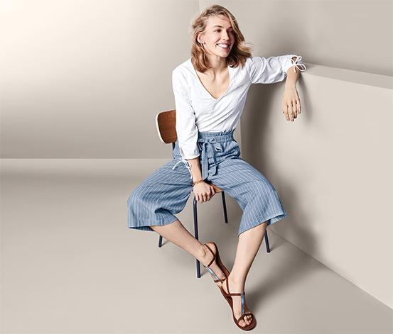Lněné kalhoty culotte