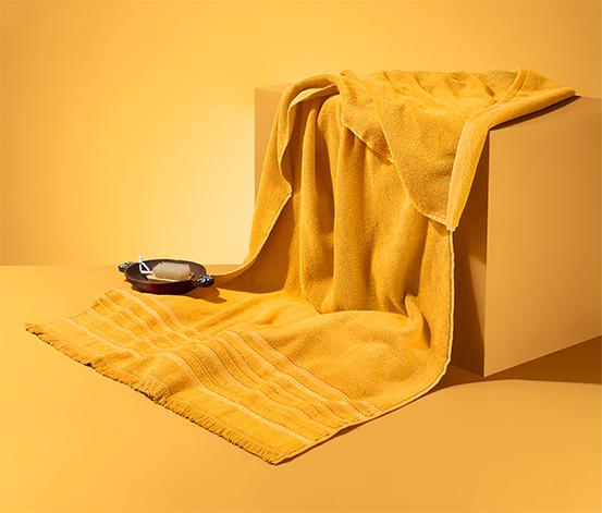 Linge de bain à franges, jaune