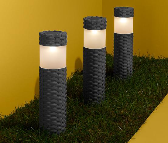 Kolumny solarne w szarym kolorze, 3 sztuki