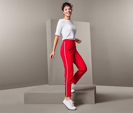 Damskie spodnie z lampasami w kontrastowym kolorze