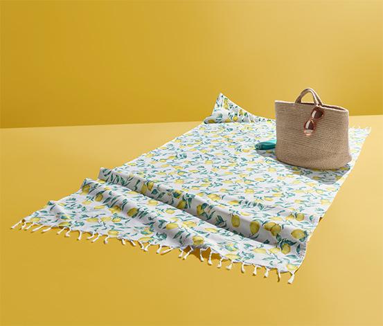 Bawełniany ręcznik plażowy z frędzlami ok. 1 x 2 m, biały ze wzorem w cytryny