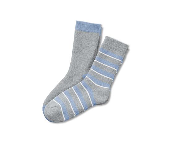 2 pár puha zokni, szürke/csíkos