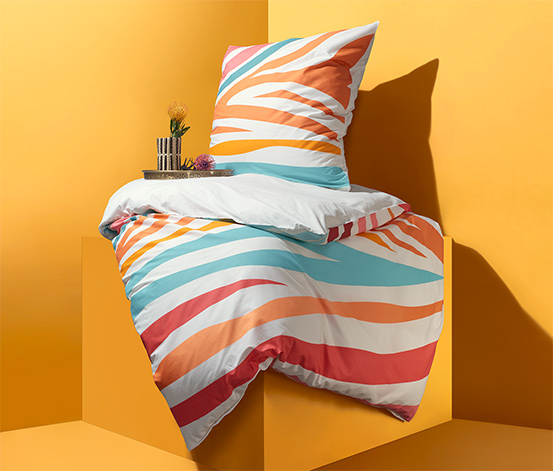 Kétoldalas perkál ágynemű, zebramintás, színes, egyszemélyes