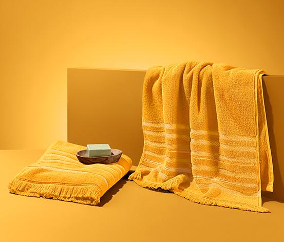 2 törölköző szettben, rojtos, sárga, 50 x 100