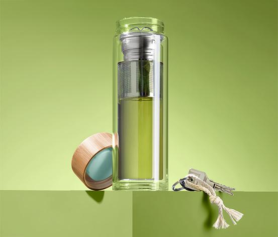 Szklana butelka termiczna z podwójnymi ściankami, ze stalowym zaparzaczem
