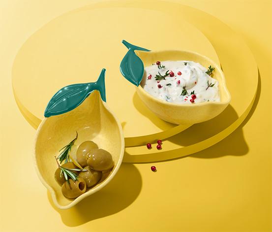 Małe, ozdobne miseczki w kształcie cytryny, 2 sztuki