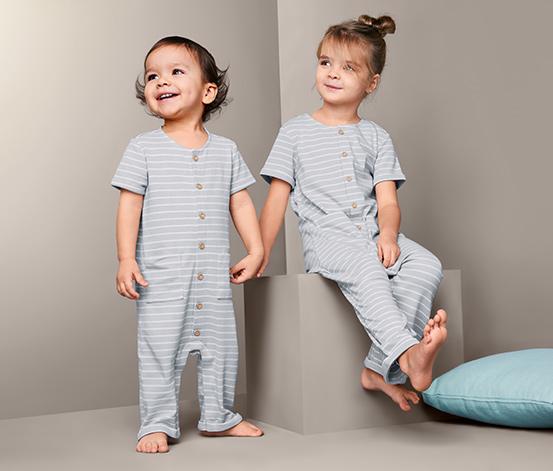 Rampers niemowlęcy z krótkim rękawem, w szaro-białe paski