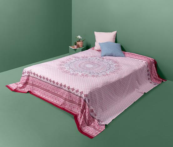 Narzuta ze wzmocnionej bawełny ok. 230 x 250 cm, różowa ze wzorem