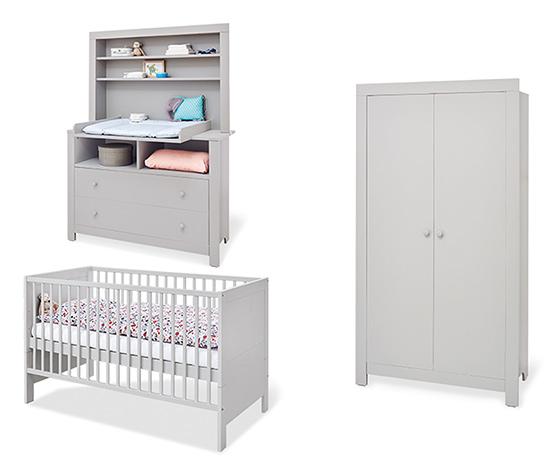 Pinolino Baby-Zimmerset »Liv«, Kleiderschrank 2-türig, Wickelkommode extrabreit, grau