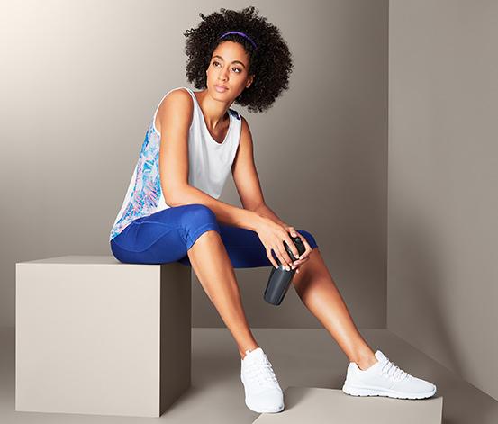 Női sporttop, fehér, kék, pálmás